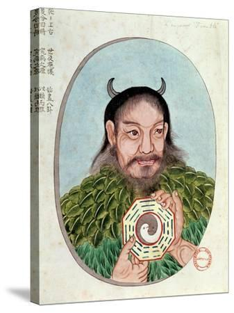 "The Legendary Emperor Fu-Hsi, Illustration from a ""Pen Tsao,"" 18th-19th Century--Stretched Canvas Print"