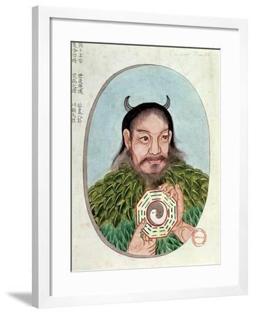 "The Legendary Emperor Fu-Hsi, Illustration from a ""Pen Tsao,"" 18th-19th Century--Framed Giclee Print"