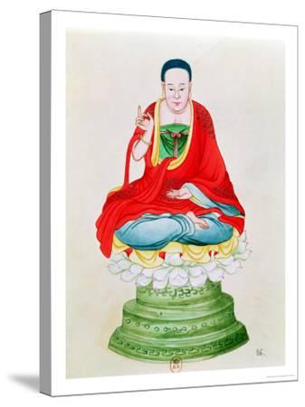 Buddha Seated on a Lotus Flower--Stretched Canvas Print