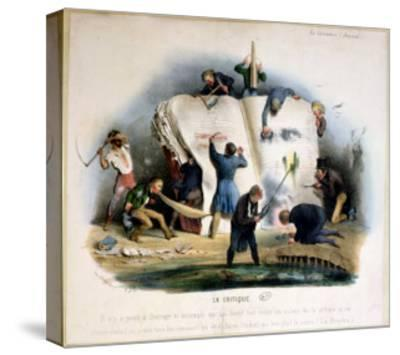 Literary Criticism, Caricature of Literary Critics Removing Passages from Books-Charles Joseph Travies De Villiers-Stretched Canvas Print