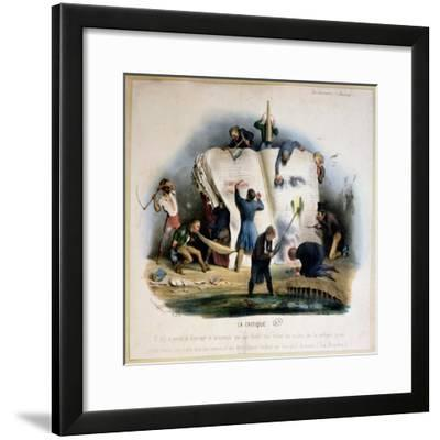 Literary Criticism, Caricature of Literary Critics Removing Passages from Books-Charles Joseph Travies De Villiers-Framed Giclee Print