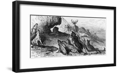 "The Funeral of the Lioness, Illustration from ""Fables""-Gustave Dor?-Framed Giclee Print"