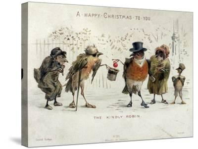 The Kindly Robin, Victorian Christmas Card- Castell Brothers-Stretched Canvas Print