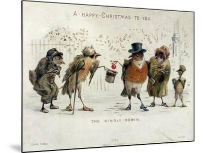 The Kindly Robin, Victorian Christmas Card- Castell Brothers-Mounted Giclee Print