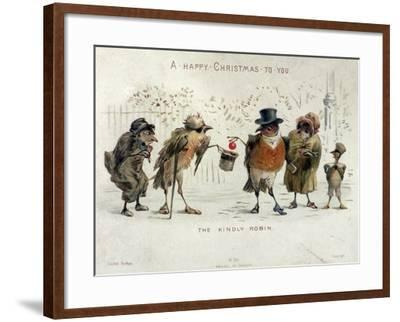The Kindly Robin, Victorian Christmas Card- Castell Brothers-Framed Giclee Print