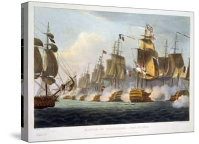 """Battle of Trafalgar, October 21st 1805, from """"The Naval Achievements of Great Britain""""-Thomas Whitcombe-Stretched Canvas Print"""