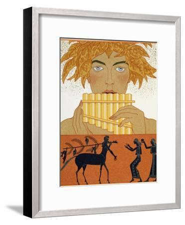 """Pan Piper, Illustration from """"Les Mythes"""" by Paul Valery Published 1923-Georges Barbier-Framed Giclee Print"""