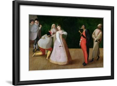 The Compagnia Dei Comici Gelosi with Isabella Andreini Depicted Giving a Performance in Paris-Hieronymus Francken-Framed Giclee Print
