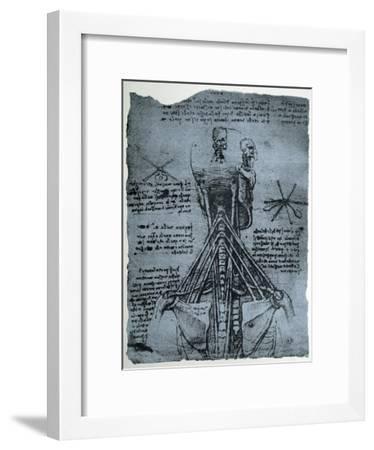 Bone Structure of the Human Neck and Shoulder, Facsimile Copy-Leonardo da Vinci-Framed Giclee Print