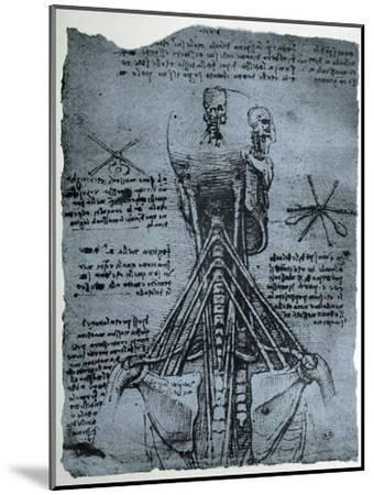 Bone Structure of the Human Neck and Shoulder, Facsimile Copy-Leonardo da Vinci-Mounted Giclee Print