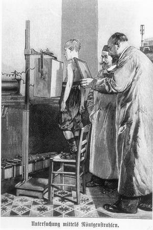 Wilhelm Konrad Roentgen X-Raying a Young Boy, from a Book by Hans Kraemer, circa 1898-99--Stretched Canvas Print
