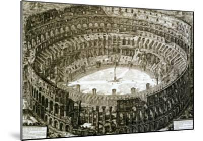 "Aerial View of the Colosseum in Rome from ""Views of Rome""-Giovanni Battista Piranesi-Mounted Giclee Print"