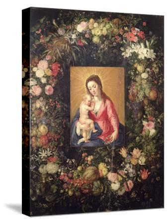 Garland of Fruit and Flowers with Virgin and Child-Jan Brueghel the Elder-Stretched Canvas Print