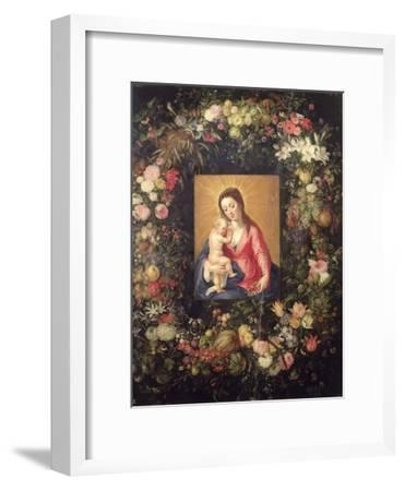 Garland of Fruit and Flowers with Virgin and Child-Jan Brueghel the Elder-Framed Giclee Print