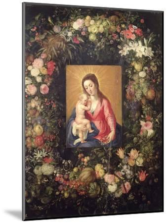 Garland of Fruit and Flowers with Virgin and Child-Jan Brueghel the Elder-Mounted Giclee Print