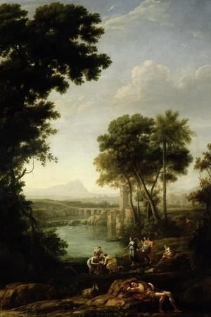 Landscape with the Finding of Moses-Claude Lorraine-Stretched Canvas Print