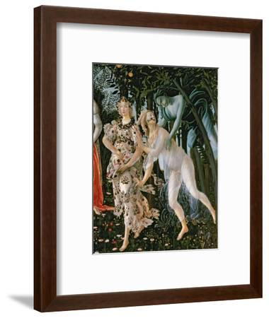 Primavera: Detail of the Zephyr, and Flora as the Hour of Spring-Sandro Botticelli-Framed Premium Giclee Print