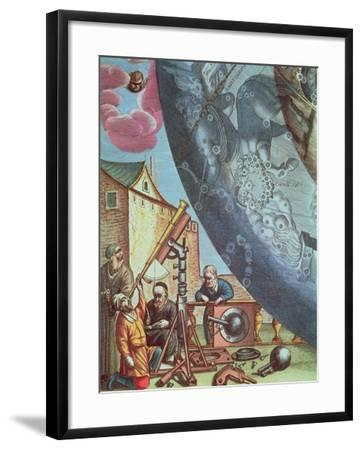 Astronomers Looking Through a Telescope, Detail from a Map of the Constellations-Andreas Cellarius-Framed Giclee Print