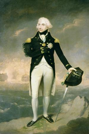 Portrait of Lord Nelson with Santa Cruz Beyond-Lemuel Francis Abbott-Stretched Canvas Print