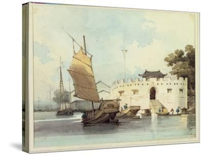 The Dutch Folly Fort off Canton-George Chinnery-Stretched Canvas Print