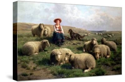 Shepherdess with Sheep in a Landscape-C. And Gerard Leemputten-Stretched Canvas Print