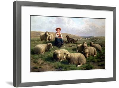 Shepherdess with Sheep in a Landscape-C. And Gerard Leemputten-Framed Giclee Print