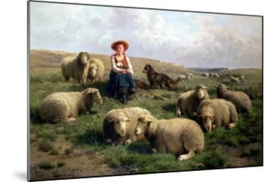 Shepherdess with Sheep in a Landscape-C. And Gerard Leemputten-Mounted Giclee Print