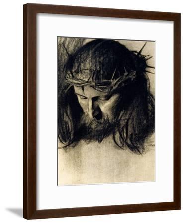 Head of Christ, circa 1890-Franz von Stuck-Framed Giclee Print