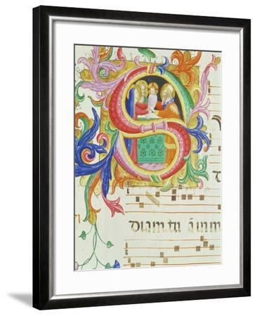 """Historiated Initial """"S"""" Depicting the Presentation in the Temple-Angelico & Strozzi-Framed Giclee Print"""