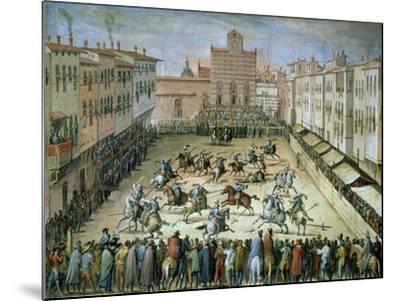 The Joust in the Piazza Santa Croce, Florence, 1555-Jan van der Straet-Mounted Giclee Print