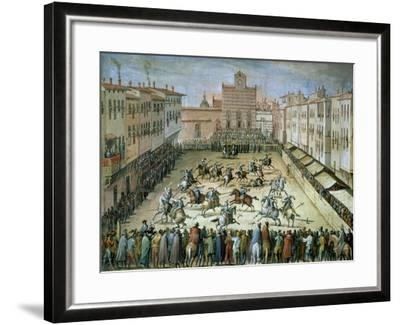 The Joust in the Piazza Santa Croce, Florence, 1555-Jan van der Straet-Framed Giclee Print