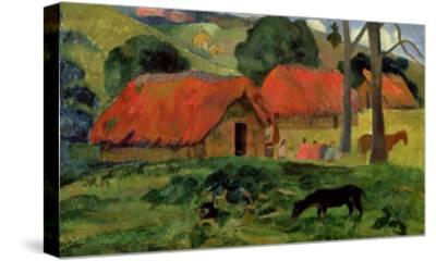 Landscape with a Dog in Front of a Shed, 1892-Paul Gauguin-Stretched Canvas Print
