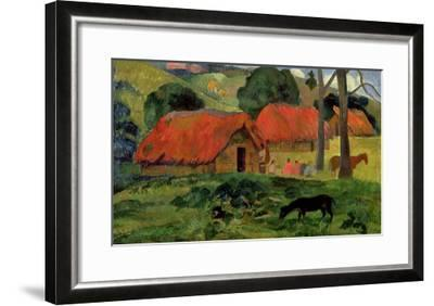 Landscape with a Dog in Front of a Shed, 1892-Paul Gauguin-Framed Giclee Print