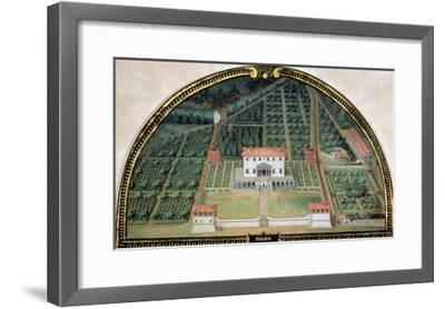 Villa Poggio a Caiano from a Series of Lunettes Depicting Views of the Medici Villas, 1599-Giusto Utens-Framed Giclee Print
