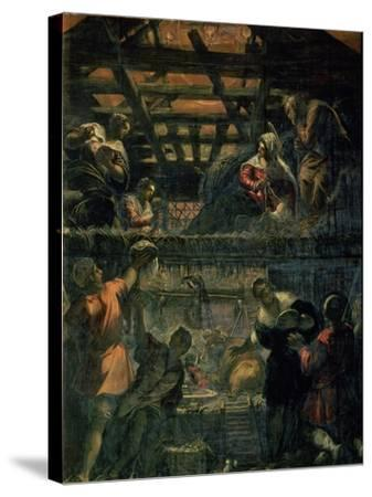 The Adoration of the Shepherds, 1578-81-Jacopo Robusti Tintoretto-Stretched Canvas Print