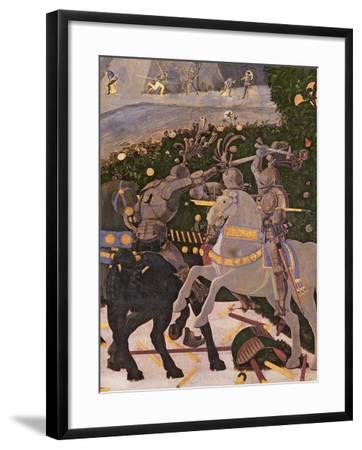 The Battle of San Romano, Detail of Two Cavalrymen Engaged in Combat, circa 1450-60-Paolo Uccello-Framed Giclee Print