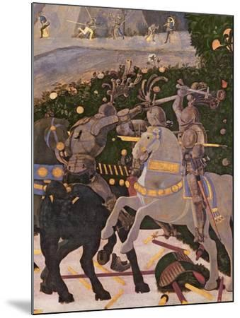 The Battle of San Romano, Detail of Two Cavalrymen Engaged in Combat, circa 1450-60-Paolo Uccello-Mounted Giclee Print