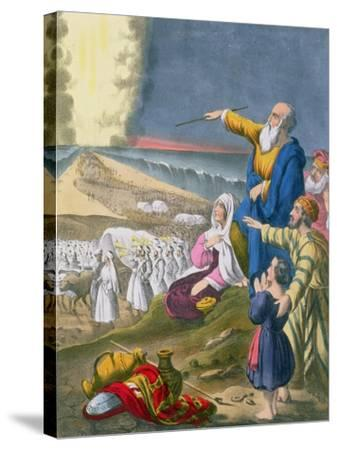 Moses Parting the Red Sea, from a Bible Printed by Edward Gover, 1870s-Siegfried Detler Bendixen-Stretched Canvas Print
