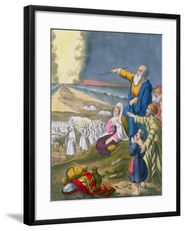 Moses Parting the Red Sea, from a Bible Printed by Edward Gover, 1870s-Siegfried Detler Bendixen-Framed Giclee Print