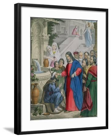 Jesus Gives Sight to One Born Blind, from a Bible Printed by Edward Gover, 1870s-Siegfried Detler Bendixen-Framed Giclee Print