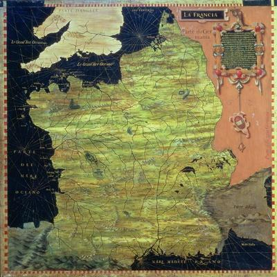 """Map of Sixteenth Century France, from the """"Sala Delle Carte Geografiche""""-Stefano And Danti Bonsignori-Stretched Canvas Print"""