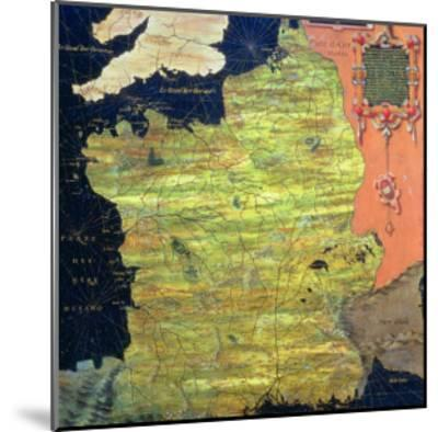 """Map of Sixteenth Century France, from the """"Sala Delle Carte Geografiche""""-Stefano And Danti Bonsignori-Mounted Giclee Print"""