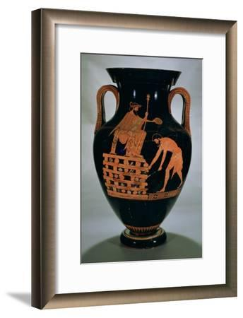 Attic Red-Figure Belly Amphora Depicting Croesus on His Pyre, from Vulci, circa 500-490 BC- Myson-Framed Giclee Print