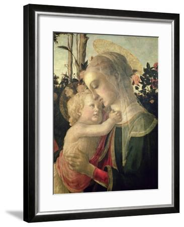 Madonna and Child with St. John the Baptist, Detail of the Madonna and Child-Sandro Botticelli-Framed Giclee Print
