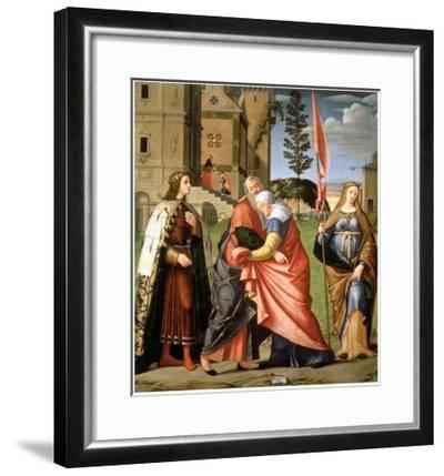 The Meeting at the Golden Gate with Saints, 1515-Vittore Carpaccio-Framed Giclee Print