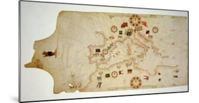 Miniature Nautical Map of the Central Mediterranean, 1560-Matteo Prunes-Mounted Giclee Print
