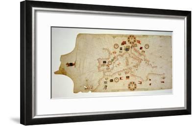 Miniature Nautical Map of the Central Mediterranean, 1560-Matteo Prunes-Framed Giclee Print