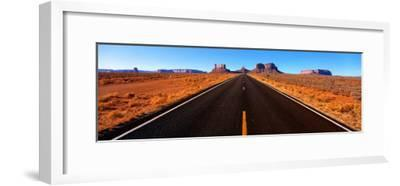 Empty Road, Clouds, Blue Sky, Monument Valley, Utah, USA--Framed Photographic Print