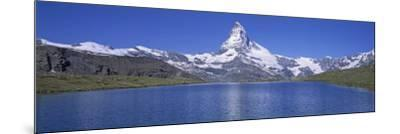 Panoramic View of a Snow Covered Mountain by a Lake, Matterhorn, Zermatt, Switzerland--Mounted Photographic Print