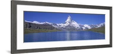Panoramic View of a Snow Covered Mountain by a Lake, Matterhorn, Zermatt, Switzerland--Framed Photographic Print